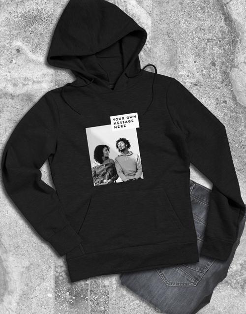 clothing: Personalised Photo Block Black Hoodie!