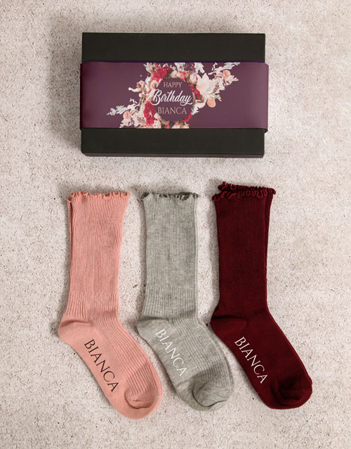 socks: Personalised Happy Birthday Frills Sock Pack!