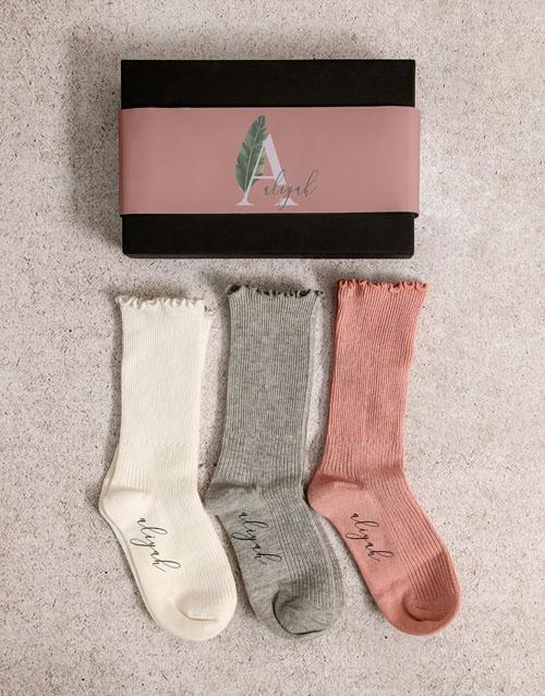 birthday: Personalised Leaf Name Frills Sock Pack!