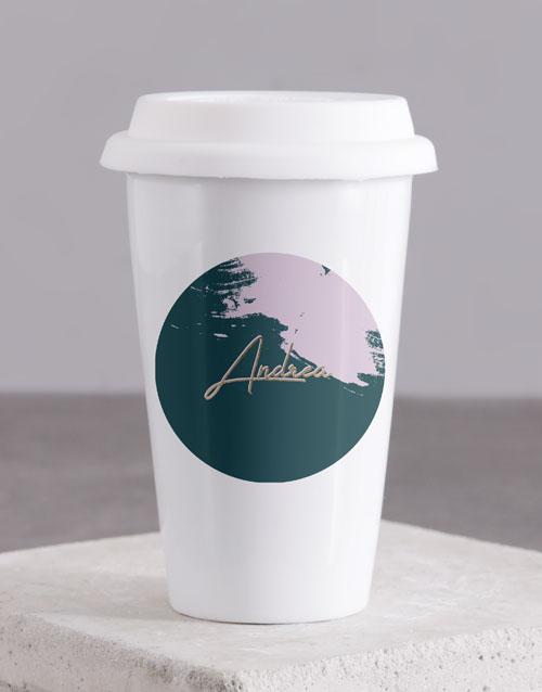 birthday: Personalised Modern Painterly Travel Mug!