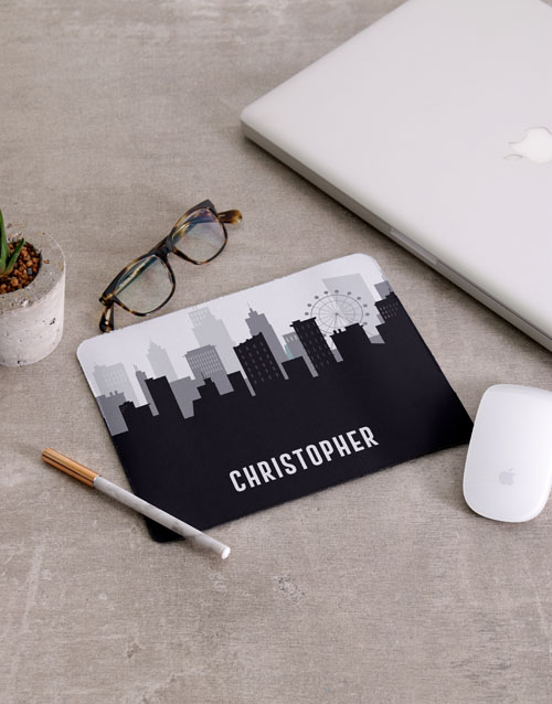 fathers-day: Personalised Skyline Mousepad And Stationery Set!