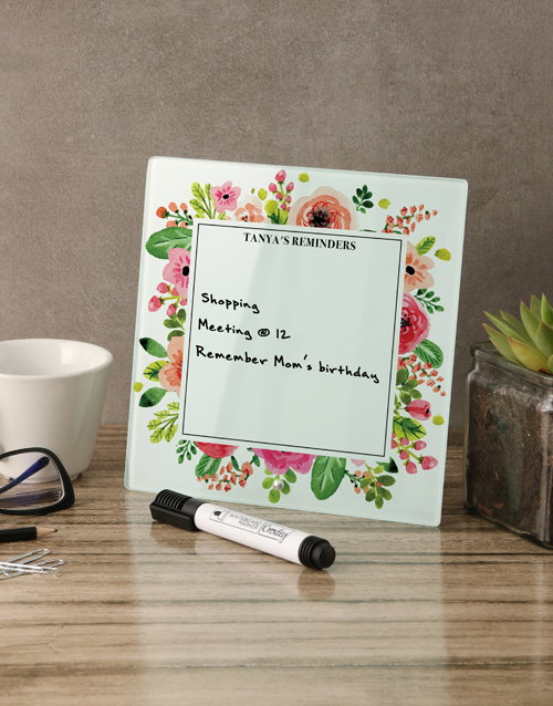 personalised: Floral Glass Reminder Whiteboard!
