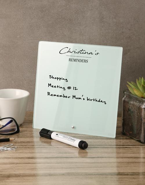 personalised: Minimalist Glass Reminder Whiteboard!