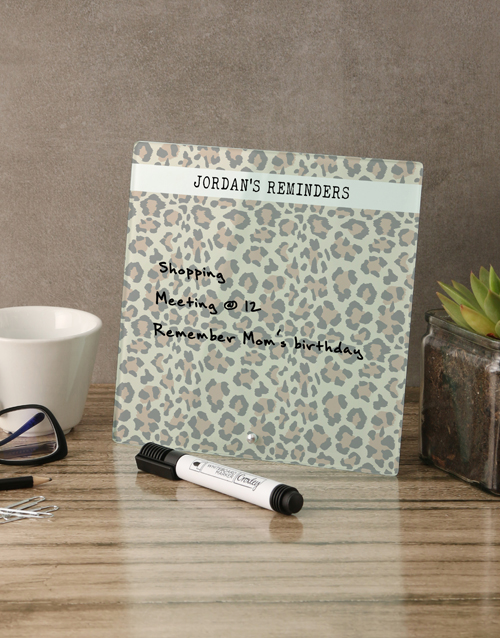 personalised: Leopard Glass Reminder Whiteboard!