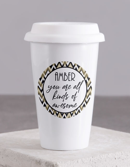 fathers-day: Personalised You Are Awesome Ceramic Travel Mug!