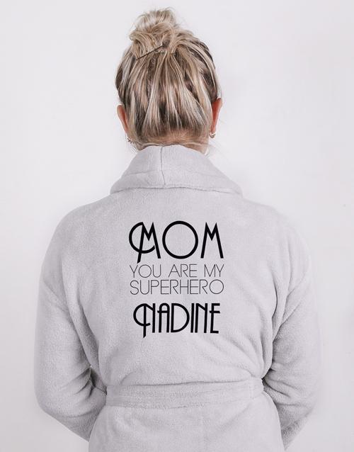 mothers-day: Personalised Superhero Mom Light Grey Fleece Gown!
