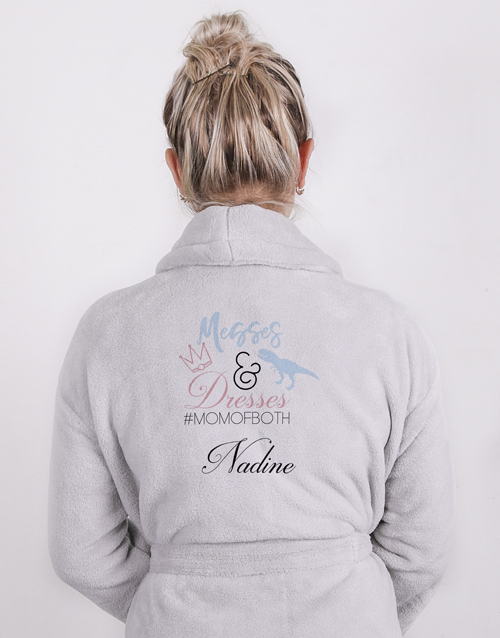 mothers-day: Personalised Mom Of Both Light Grey Fleece Gown!
