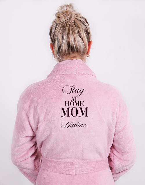 mothers-day: Personalised Slay At Home Mom Pink Fleece Gown!