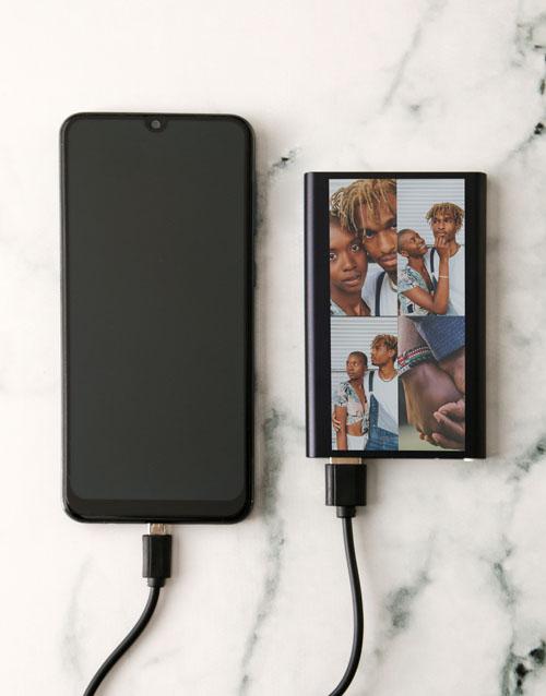 birthday: Personalised Four Photo Black Powerbank!