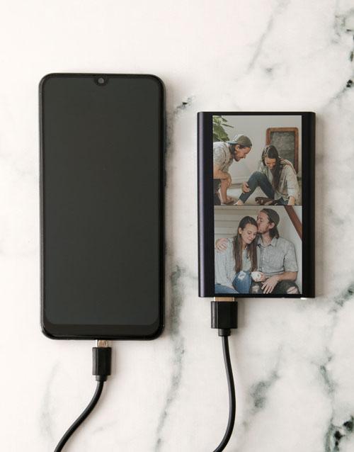 personalised: Personalised Two Photo Black Powerbank!