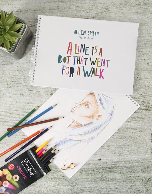 personalised: Personalised Dot Saying Sketch Book !