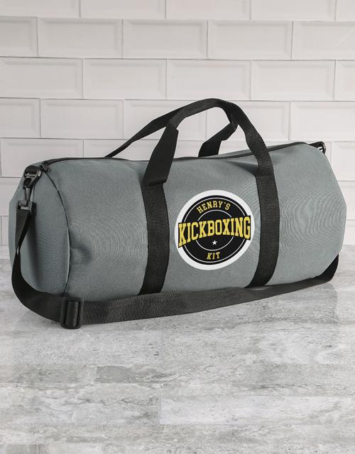 bosses-day: Personalised Grey Gym Duffel Bag!