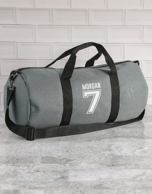 bosses-day: Personalised Team Player Grey Gym Duffel Bag!