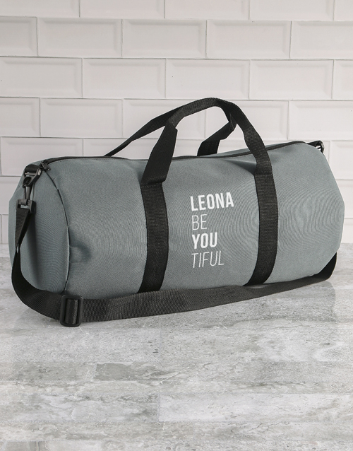 mothers-day: Personalised BeYouTiful Grey Gym Duffel Bag!
