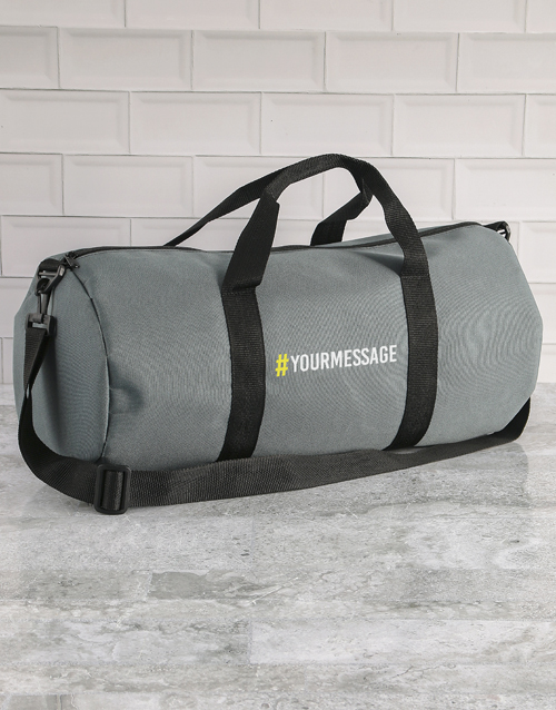 mothers-day: Personalised Message Grey Gym Duffel Bag!