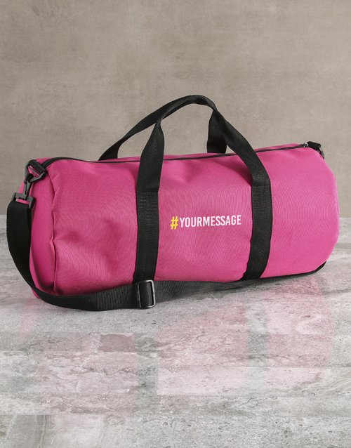 bosses-day: Personalised Message Pink Gym Duffel Bag!