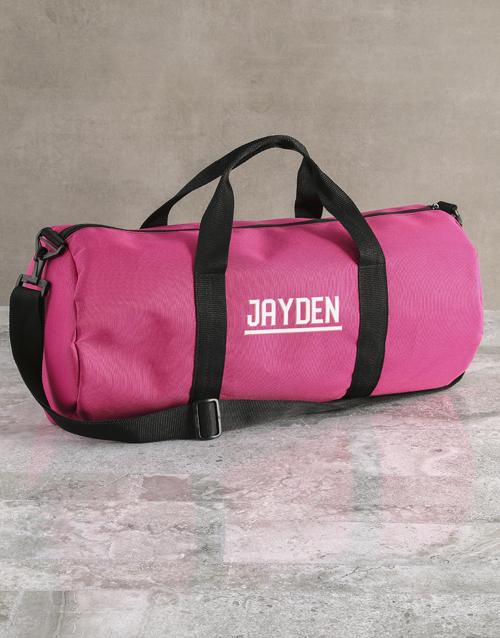 bosses-day: Personalised Name Pink Gym Duffel Bag!