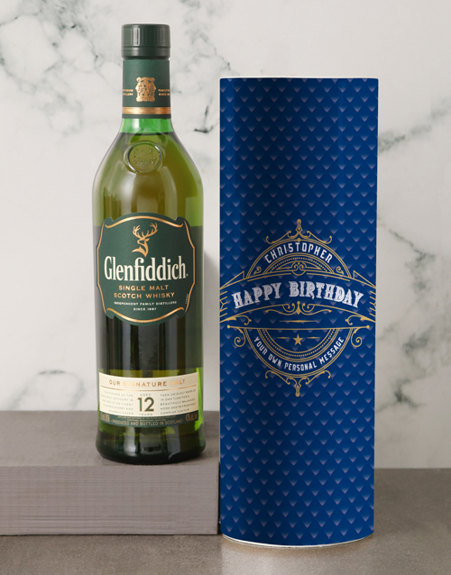 personalised: Personalised Glenfiddich Whisky Deco Tube!