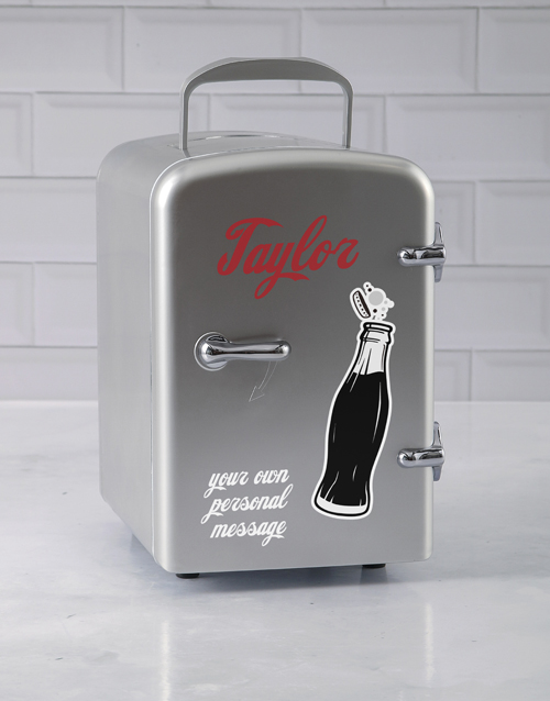 bosses-day: Personalised Cola Silver Desk Fridge!