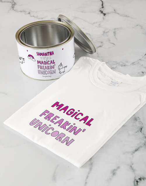 personalised: Personalised Magical Unicorn T Shirt Tin!