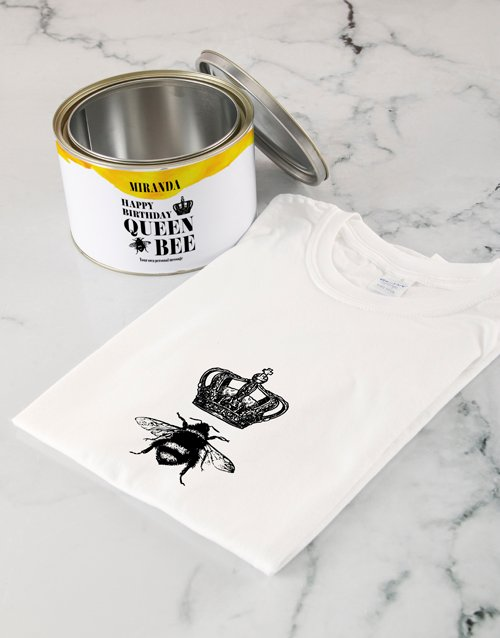personalised: Personalised Queen Bee T Shirt Tin!