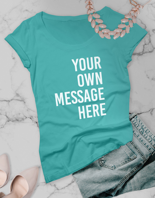 personalised: Personalised Aqua Blue Ladies T Shirt!