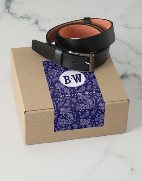 bosses-day: Personalised Navy Paisley Belt Box!