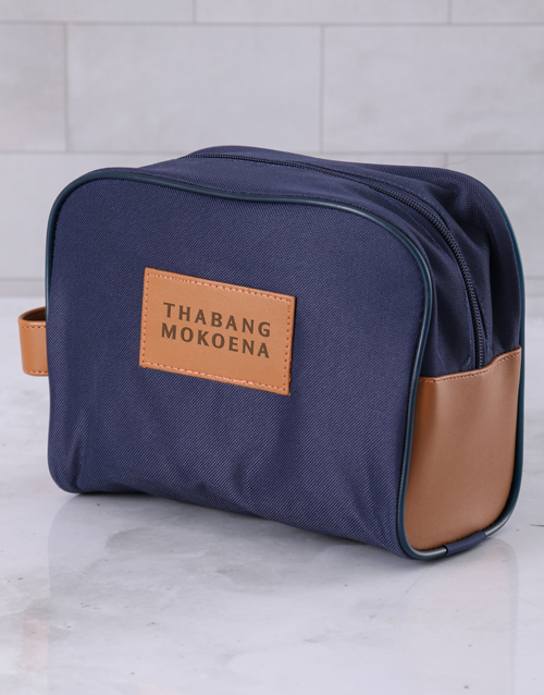 fathers-day: Personalised Mens Navy Blue Wash Bag !