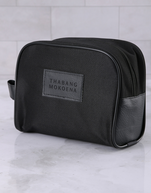 fathers-day: Personalised Mens Ink Black Wash Bag!