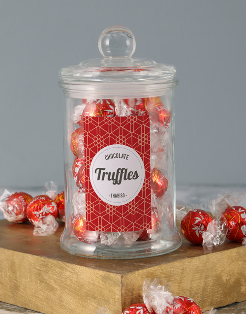 personalised: Personalised Red Pattern Lindt Candy Jar!