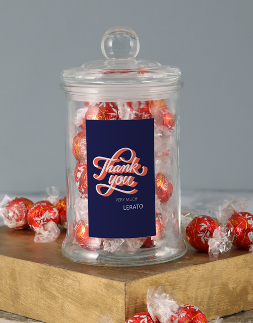 personalised: Personalised Thank You Lindt Candy Jar!