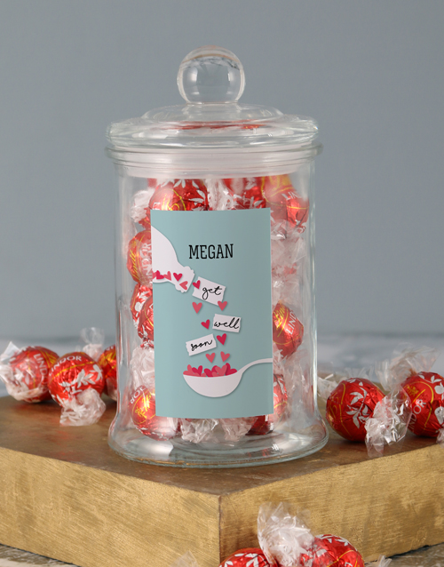 personalised: Personalised Get Well Hearts Lindt Candy Jar!