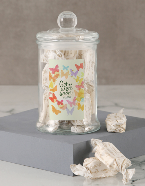 personalised: Personalised Get Well Butterfly Nougat Candy Jar!