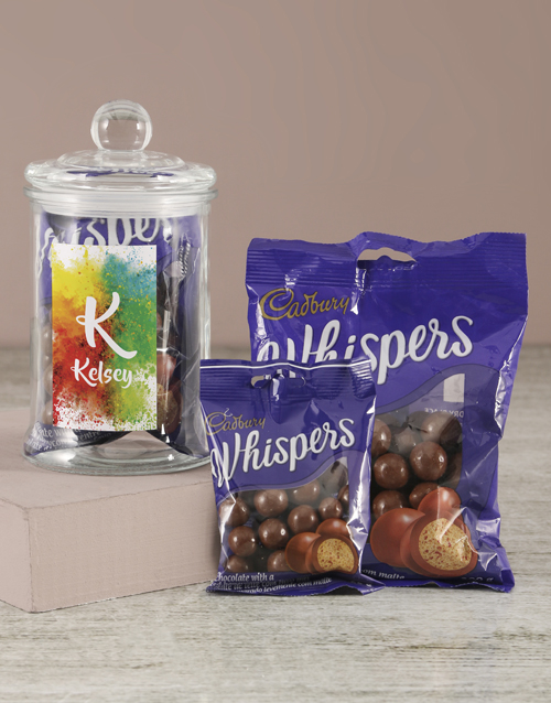 personalised: Personalised Colour Splash Whispers Candy Jar!