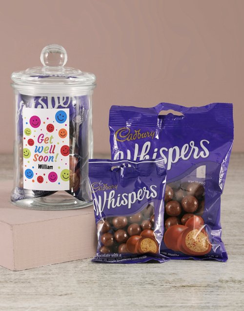 get-well: Personalised Get Well Soon Whispers Candy Jar!