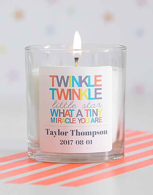 personalised: Personalised Twinkle Twinkle Baby Generic Candle!