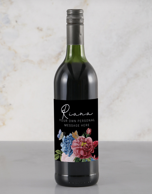 personalised: Personalised Colourful Florals Rietvallei Wine!