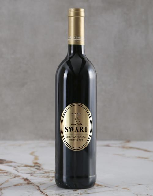 valentines-day: Personalised Modern Monogram Backsberg Wine!