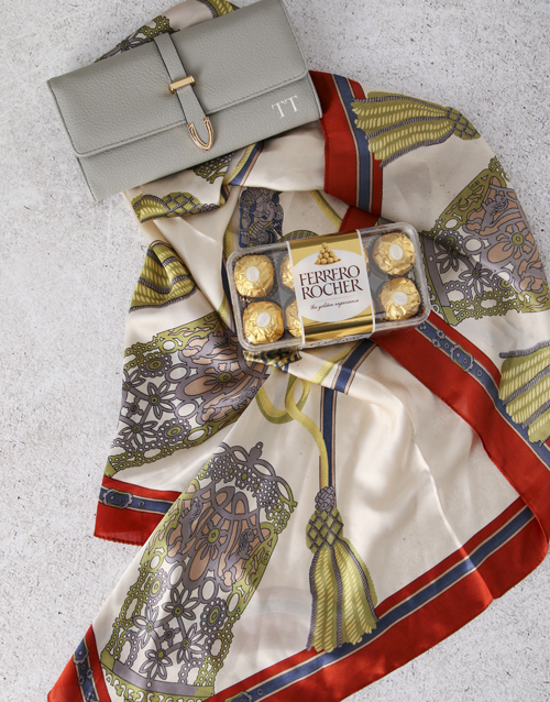 love-and-romance: Personalised Grey Purse And Silk Scarf Gift Set!