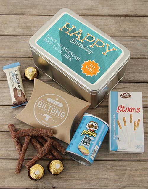 personalised: Personalised Happy Birthday Snack Tin!