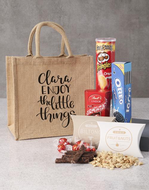 gourmet: Personalised Snacks Hessian Bag!
