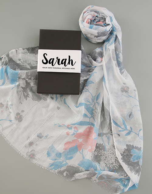 birthday: Personalised Blue Floral Scarf in Box!