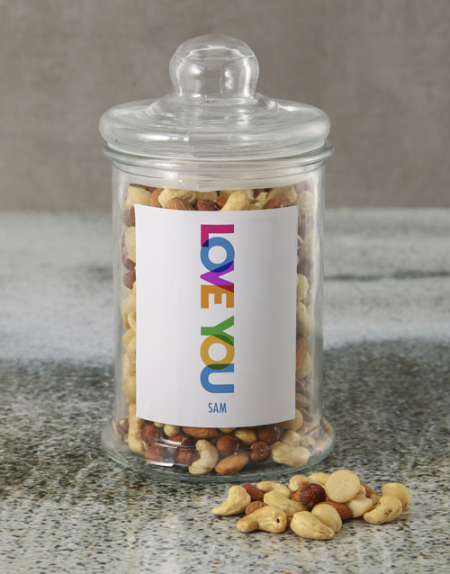 love-and-romance: Personalised Love You Mixed Nuts Jar!