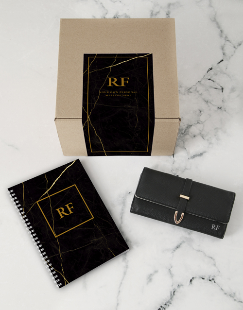 birthday: Personalised Black Purse And Notebook!