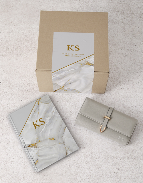 personalised: Personalised Grey Purse And Notebook!
