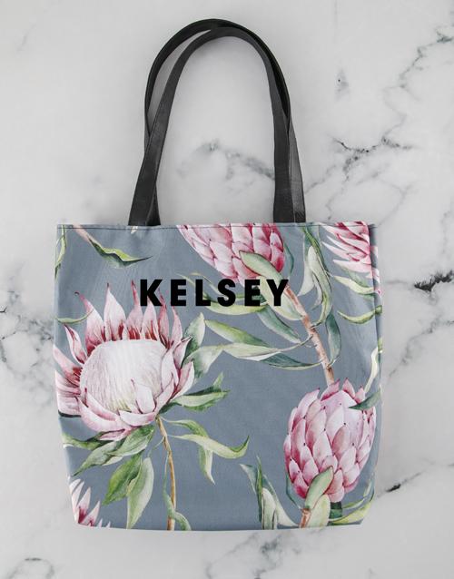 apparel: Personalised Pretty Protea Floral Tote Bag!