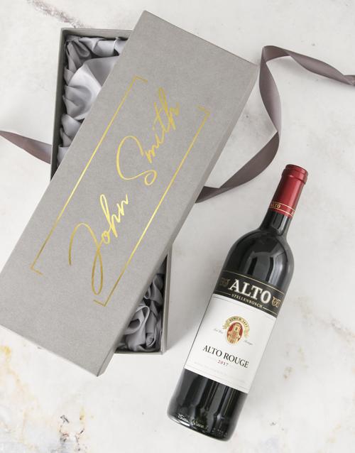 anniversary: Personalised Name Wine Grey Gift Box!