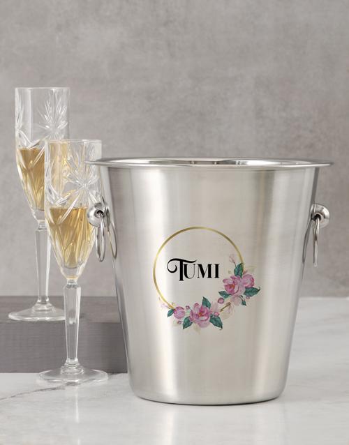 homeware: Personalised Name In Floral Design Ice Bucket!