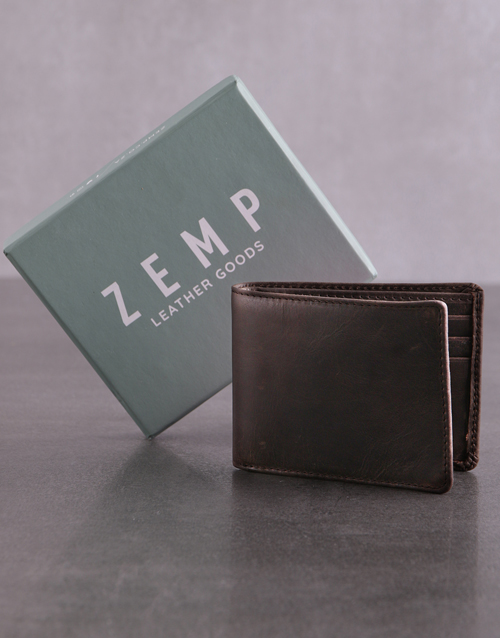 fathers-day: Personalised ZEMP Brown Wall Street Mens Wallet!