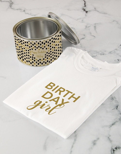 personalised: Personalised Birthday Girl Shirt In A Tin!